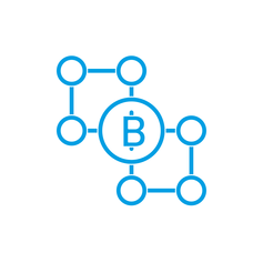 Blockchain DIstributed Ledger Technology Icon blau